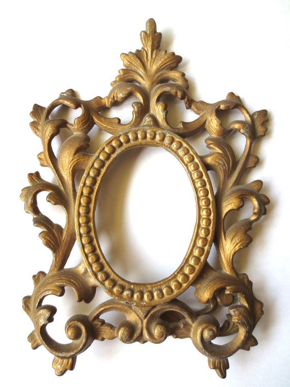 Baroque Gold Metal Footed Frame, Ornate Swivel Cast Gold Picture ...