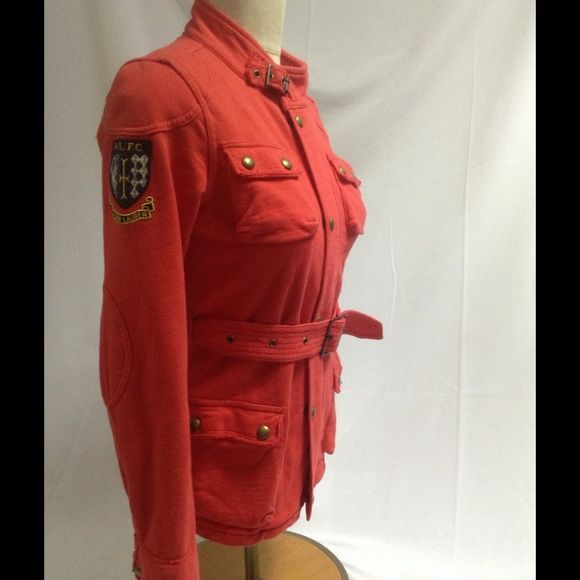 """Ralph Lauren jersey jacket military red belted Gorgeous jersey fabric jacket by Ralph Lauren blue label. This is a youth XL/16 but for a like a small...please check measurements!!! In good preowned condition. Has some intentional distressing on seams. Chest is 19.5"""" underarm to underarm, length is 24.5"""", underarm inseam(armpit to cuff) is 19"""" ralph lauren  Jackets & Coats"""