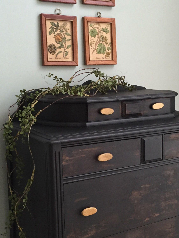 Tall Boy Black Papered Vintage Dresser Custom Listing Etsy Vintage Dressers Brown Decor Black Distressed Dresser [ 1500 x 1124 Pixel ]