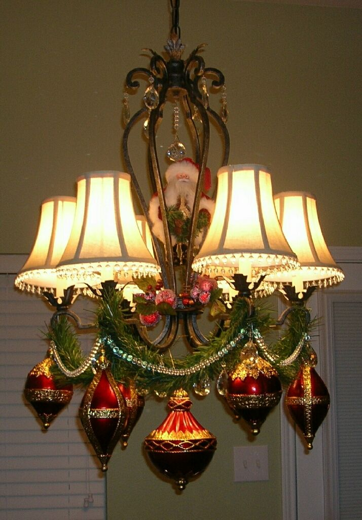 christmas chandelier decorating santa garland beads ornaments
