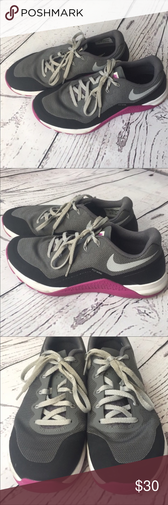 new style 89231 36fe2 EUC Nike Training Flywire training sneakers 9 EUC Nike Training Flywire  purple, gray, and white training sneakers shoes size 9.