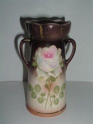 Vintage Double Handle Czechoslovakia Vase Hand Painted Wpink Rose