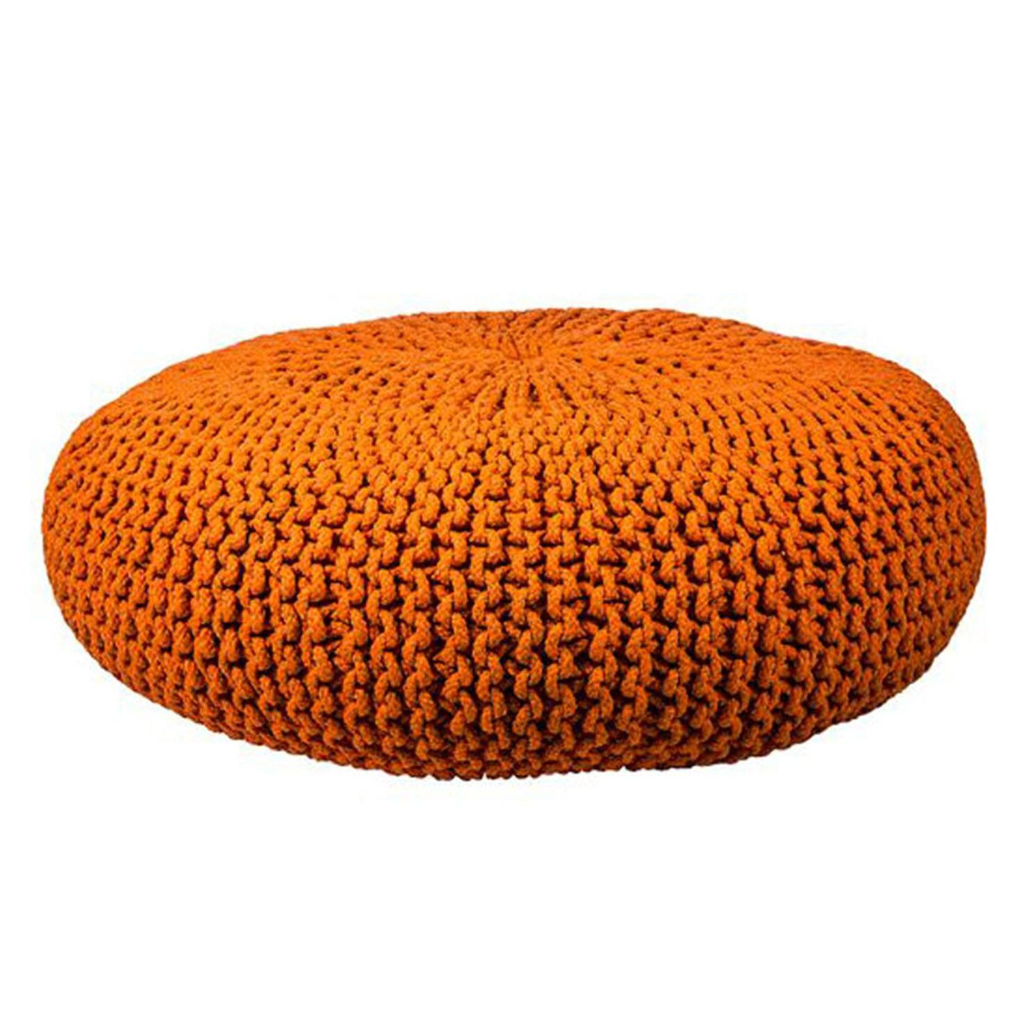 Knitted Pouf, Orange, 85cm | ACHICA