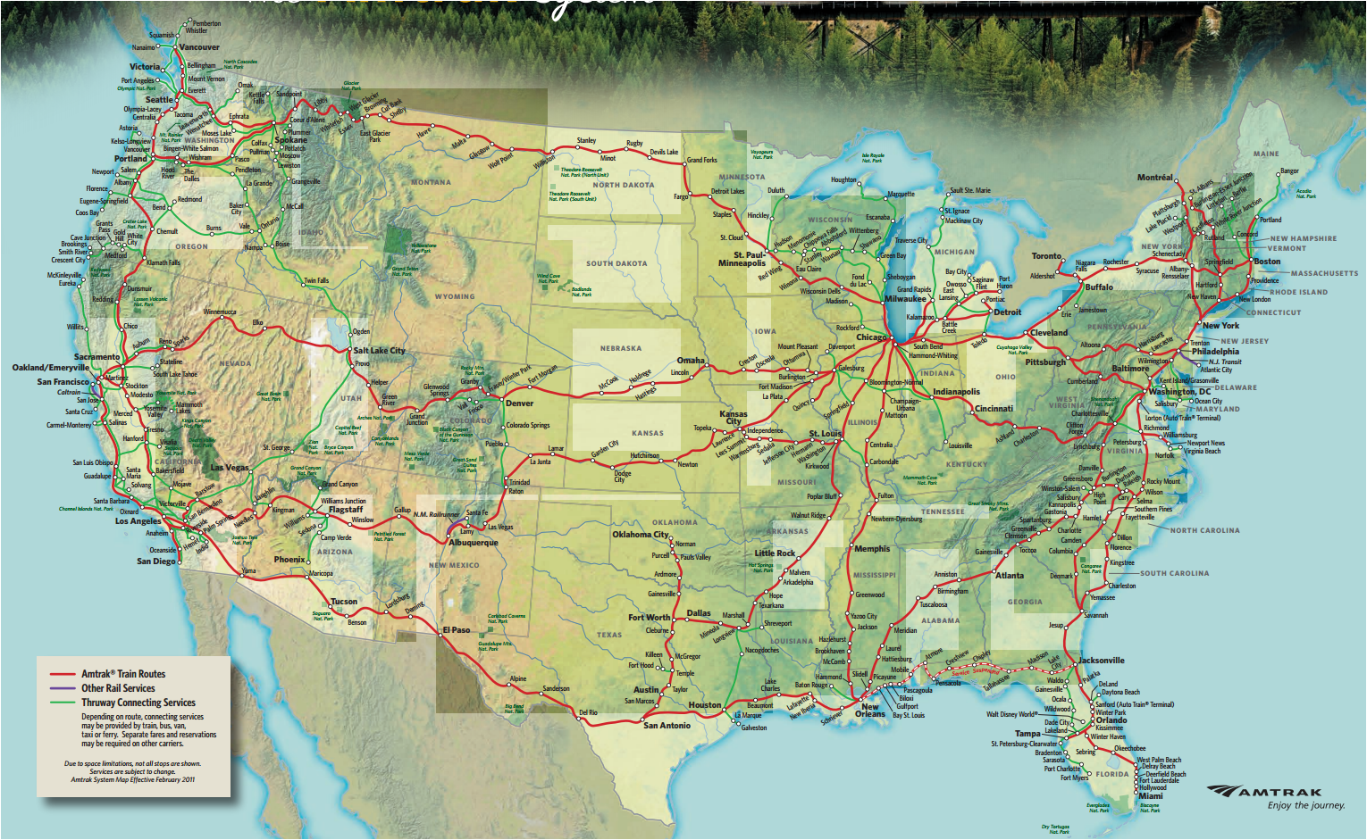US Amtrak Routes and connections. Site: www.amtrak.com ...