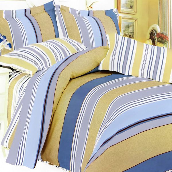 Golden Blue Stripes 100 Cotton 7pc Bed In A Bag Queen Size Five Piece Set For Twin Size Cons Blue And Yellow Bedding Duvet Bedding Sets Yellow Bedding Sets Blue and yellow quilt sets