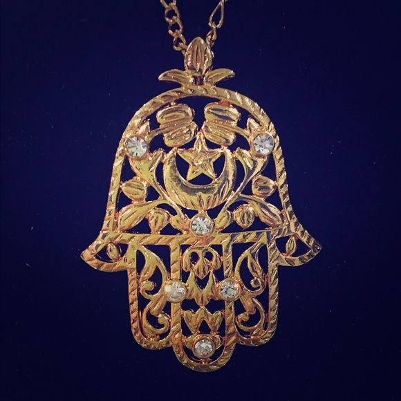 Hamsa hand gold plated necklace Heavy/high quality HAMSA hand charm and necklace (gold plated) with CZ diamonds Accessories