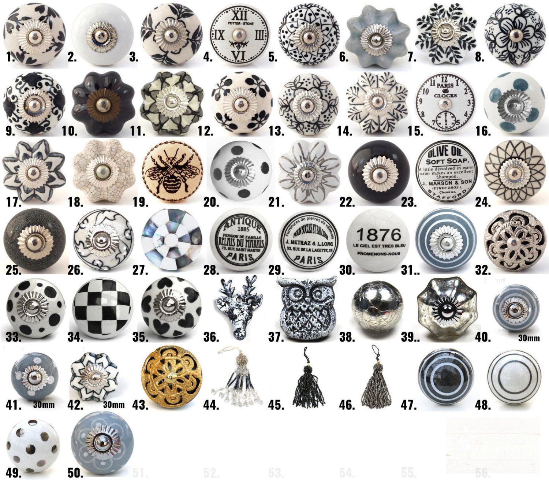 Vintage Ceramic Knobs Ornamental Door Knobs with by DesignInFocus ...