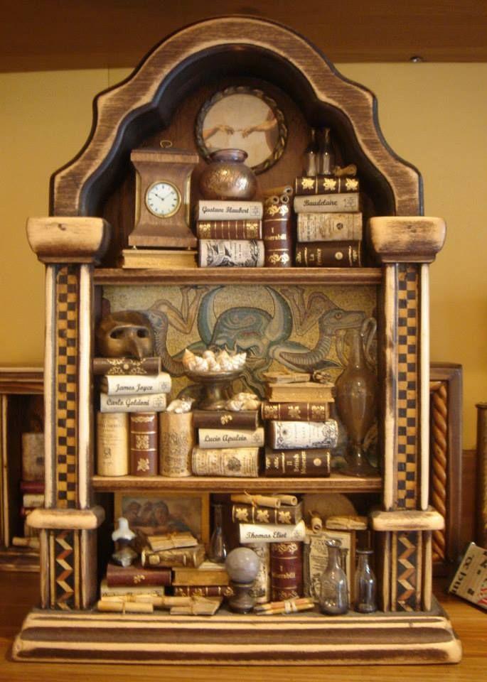 handmade miniature library