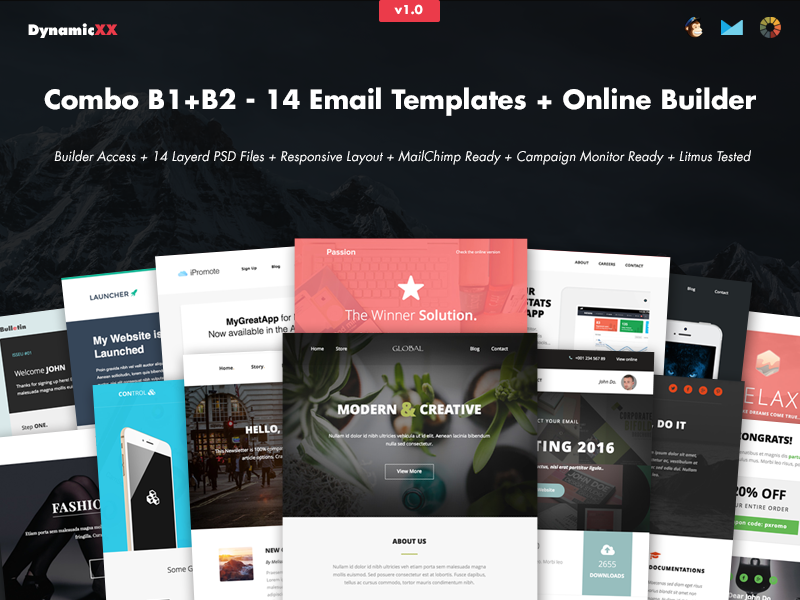 Combo - 14 Email Templates + Template Builder