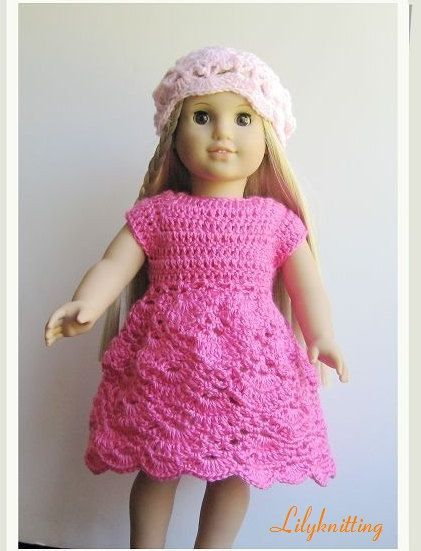 Pattern crocheted doll clothes dress for American by LilyKnitting ...
