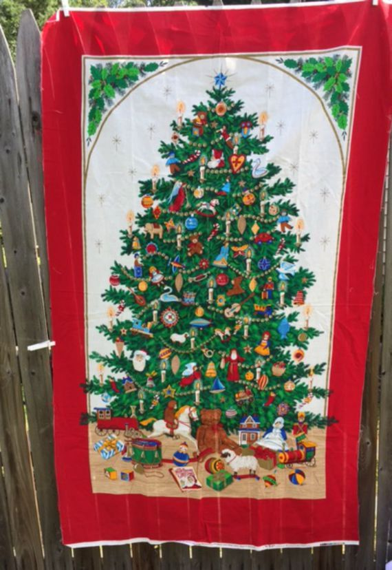 Christmas Blanket Fabric Panel Christmas Tree Wall Hanging Quilt Material Destash Sewing Supplies New