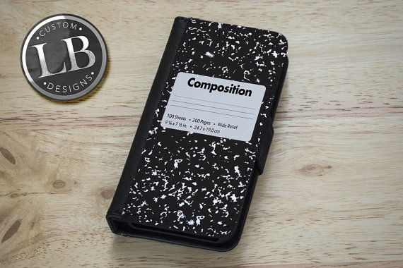 61c3783a8 iPhone / Galaxy Wallet Case - Funny Composition Notebook School Book - 4 /  4s / 5 / 5s / S3 / S4 Cover WC001 on Etsy, $23.99