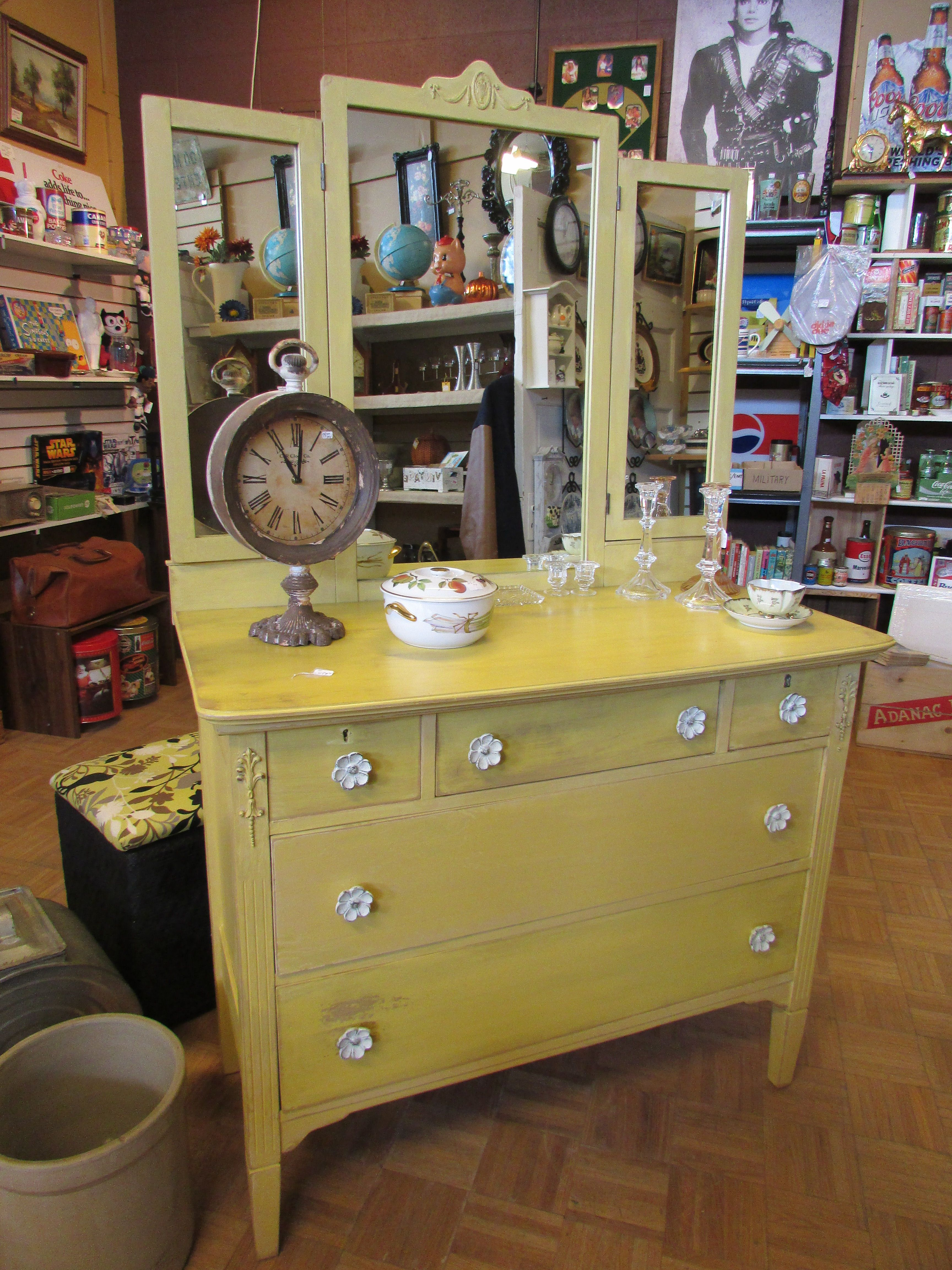 Painted Dresser With Adorable Flower Drawer Pulls One Man`S Treasure