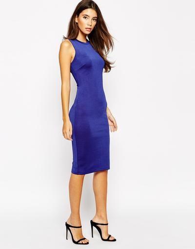 Lipsy Essentials Vestido ajustado a media pierna Azul marino #dress #women #covetme