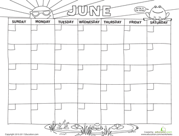 Create a Calendar: June   Preschool   Create a calendar ...