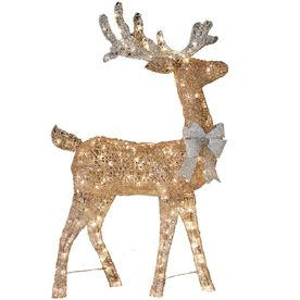 Holiday Living 4-ft Lighted Reindeer Freestanding Sculpture ...