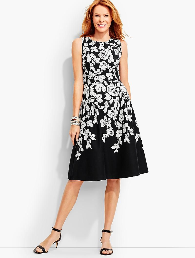 Roses Fit And Flare Dress Talbots Beautiful Dress On Bought To Wear To My Sons Wedding Love It Fit And Flare Dress Clothes For Women Dresses [ 1057 x 800 Pixel ]