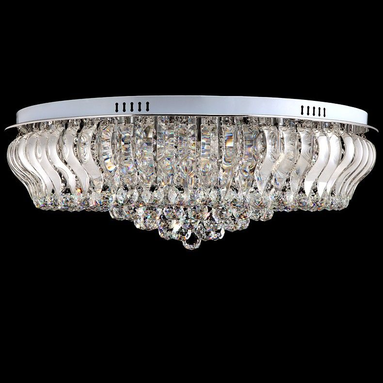 Small Large Crystal Flush Mount With Circular Canopy