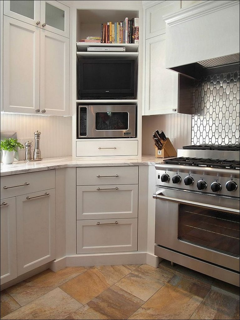Corner cabinets with microwave | Kitchen Cabinet Ideas, Home Decor ...