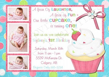 Little Cupcake Birthday Invitation - Girl BDG023-birthday party - birthday cards format