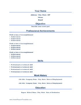 titles are centered and professional achievements take center stage on this printable resume template free - Professional Accomplishments Resume Examples