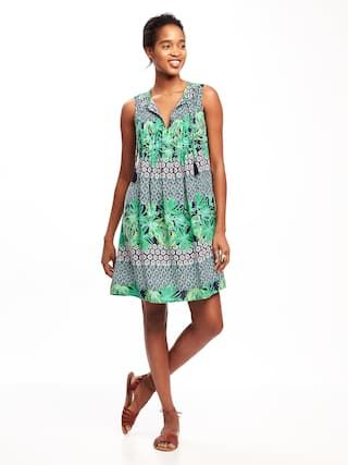 dce50e4f02 Printed Pintuck Swing Dress for Women