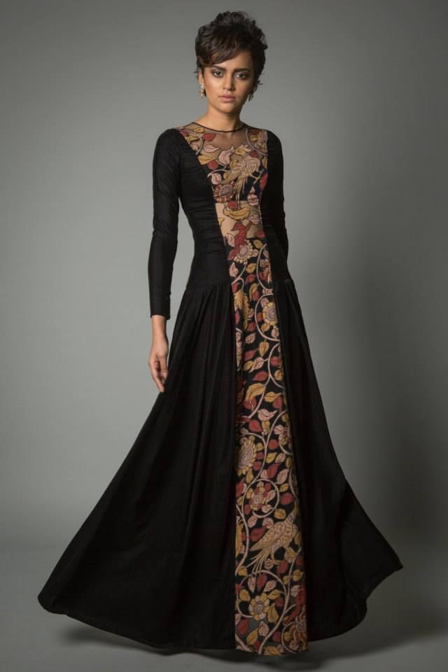 black with center detailing. interesting concept and very well made anarkali