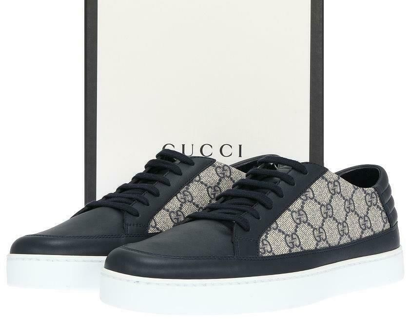018ec2d47 eBay #Sponsored NEW GUCCI MEN'S ACE BLUE LEATHER GG SUPREME LOW TOP  SNEAKERS SHOES 9 G/US 10