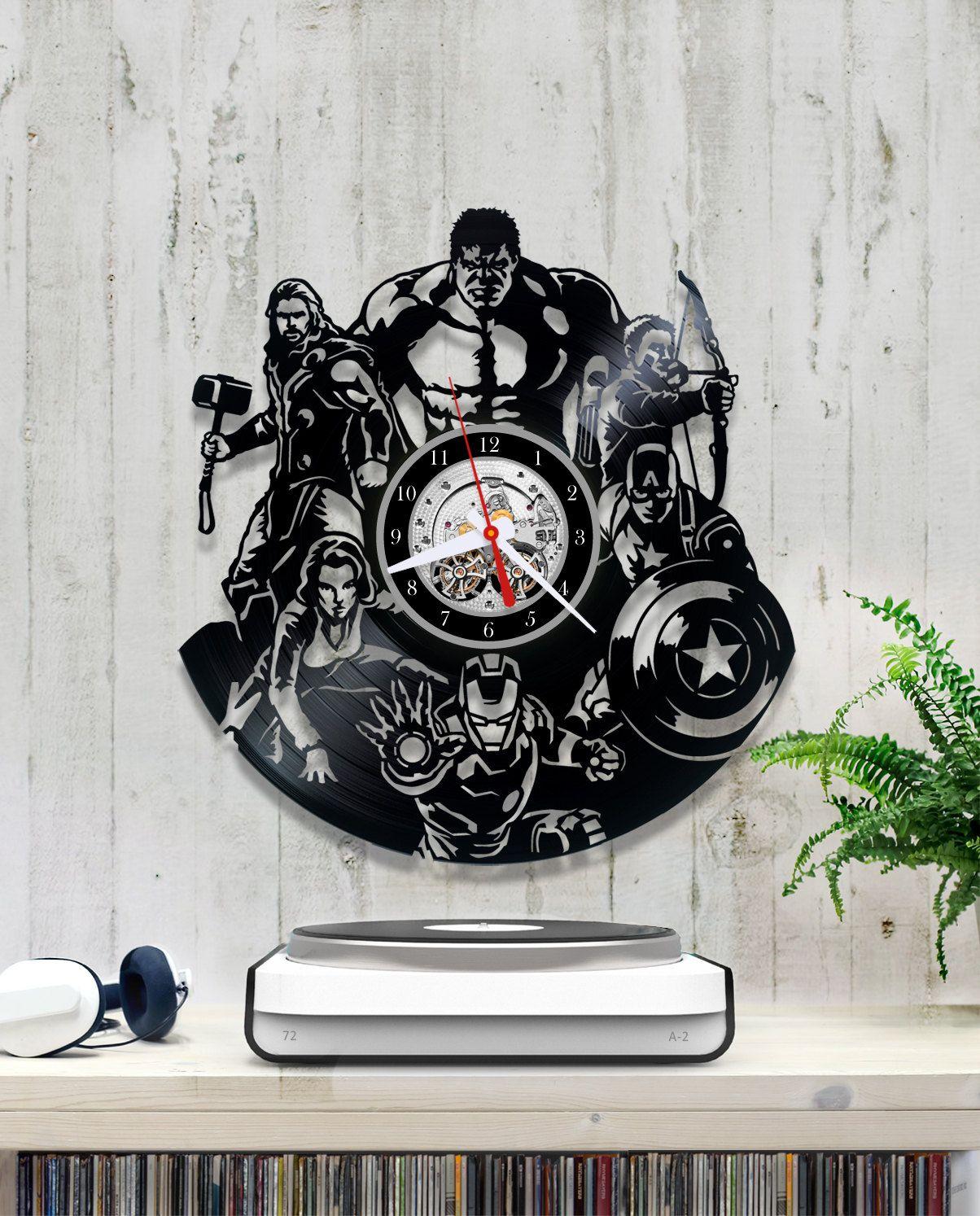 The Avengers Vinyl Clock/Marvel Comics Clock *V079 Wall Vinyl Clock ...