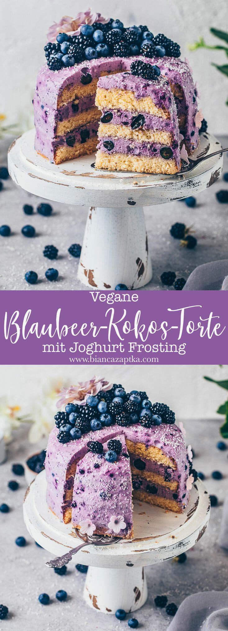 Diese saftige und fluffige vegane Heidelbeer-Kokos-Torte ist mit einem cremigen Blaubeer-Joghurt-Frosting geschichtet, das wunderbar erfrischend ist und wie eine leichte leckere Mousse schmeckt. Das Rezept ist milchfrei, ohne Eier, einfach zuzubereiten und perfekt für den Sommer!
