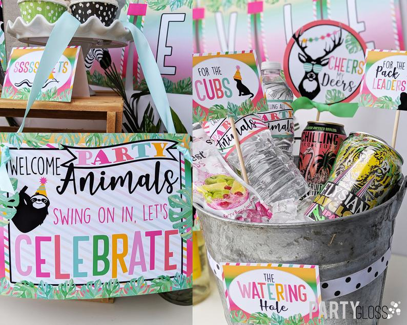 Party Animals Instant Download Birthday Party Package Party Animal Zoo Printable Party Wild One Two Wild Young Wild And Three Party Animal Party Party Packages Welcome To The Party