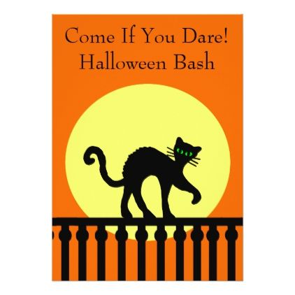 Halloween Party Black Cat on Fence Moon Orange Card Invitation ideas - halloween poster ideas