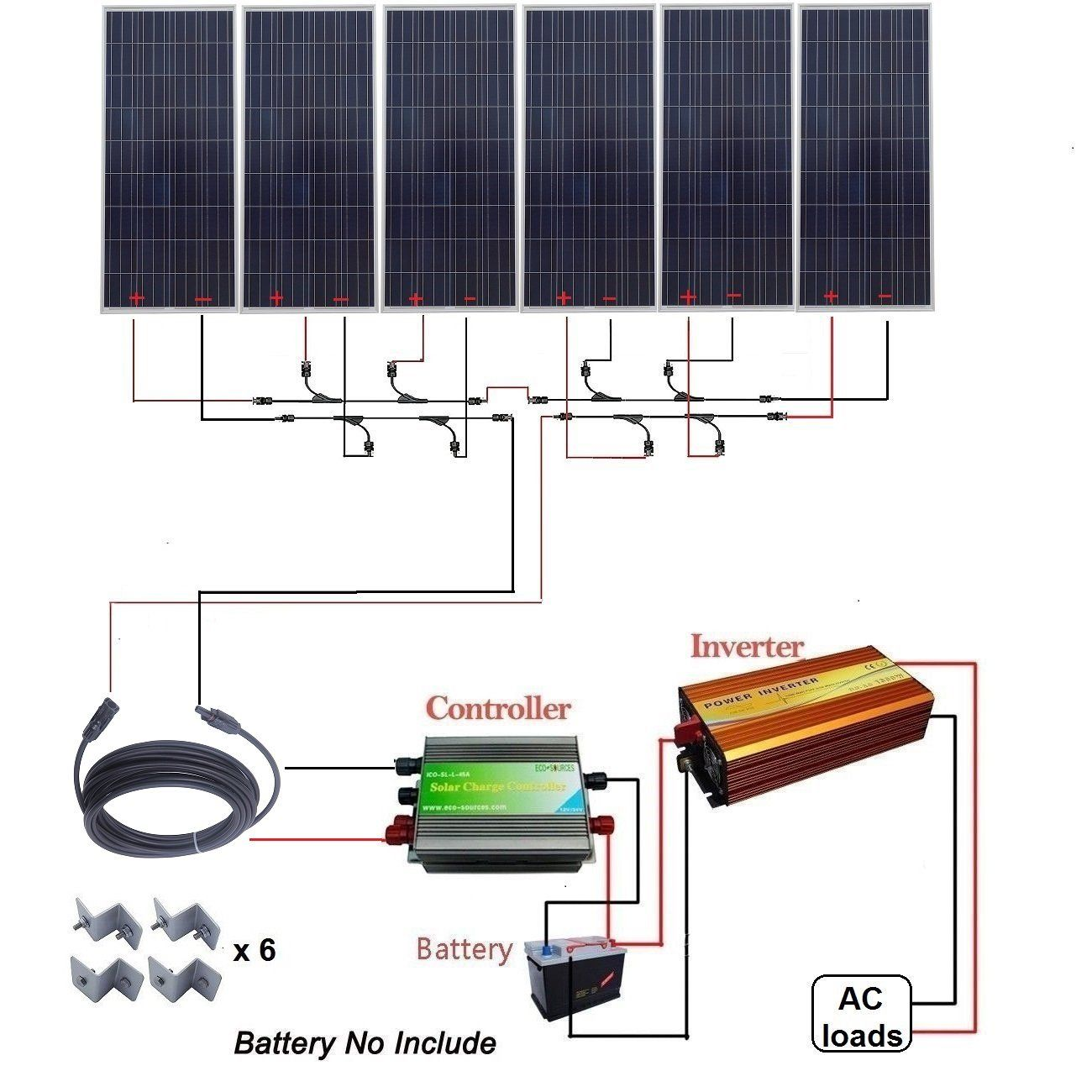 Eco Worthy 1000w 1kw Polycrystalline 24v Off Grid Solar Panel Kit 6pcs 160w Poly Solar Panels 45a Charge Cont Solar Energy Diy Solar Energy Panels Solar Energy