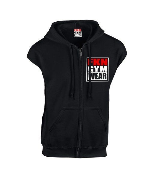 22acd234 Mens Sleeveless FKN Gym Wear Hoodie Black-FKN Gym Wear-Gym Wear ...