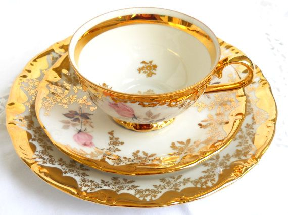 RESERVED  for QI  vintage luster tea cup trio by MinoucBrocante