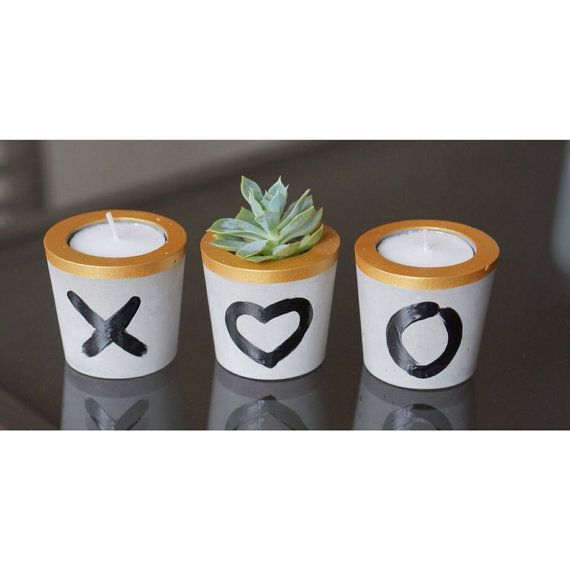 mini concrete planter and tealight holder by BelushiHandmade