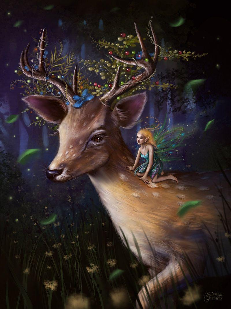сказочные картинки с оленями одной самых