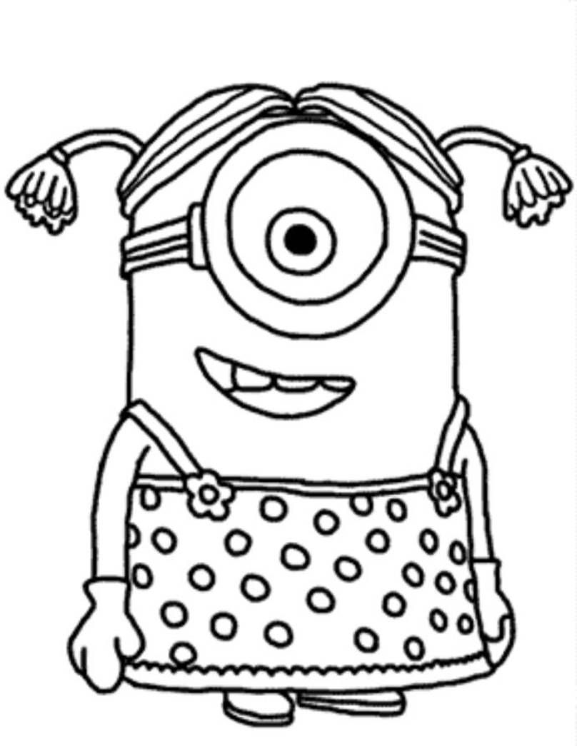 Download and Print Minion Girl Despicable Me Coloring Pages