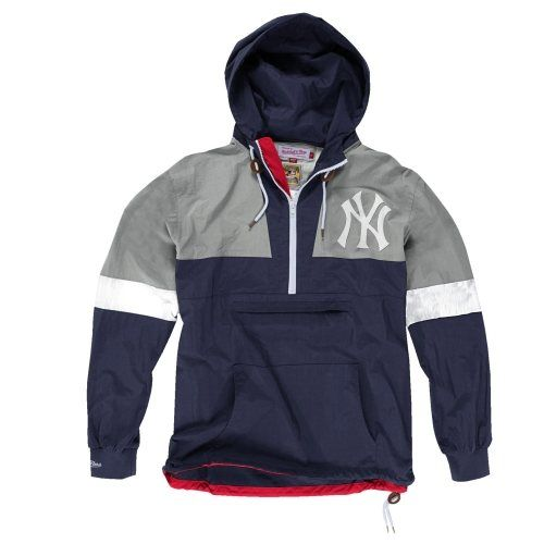 check out 88305 63797 Mitchell & Ness New York Yankees Half-Zip Hooded Windbreaker ...