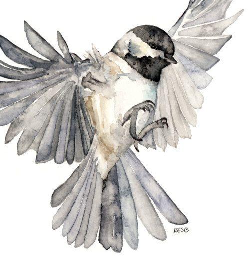 Bird in flight painting print from original watercolor - Dessin oiseau en vol ...