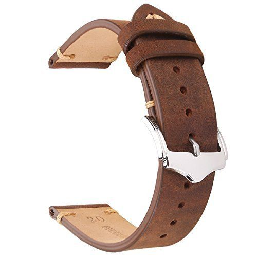 3ab8c9074 EACHE 20mm Genuine Leather Watch Band Brown Crazy Horse Replacement Straps