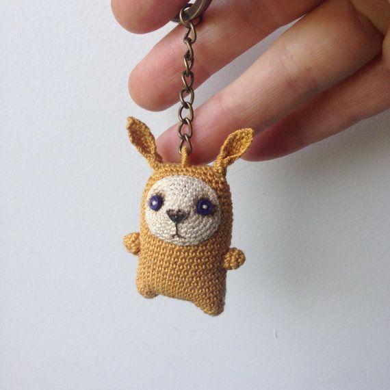 Amigurumi Bunny Pencil Holder : Mustard crochet bunny keychain, amigurumi bag charm ...