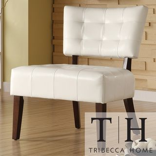 TRIBECCA HOME Smith White Faux Leather Tufted Accent Chair | Overstock.com  Shopping   Great