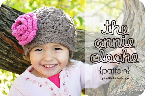 The Annie Cloche Spiral Baby Crochet Hat Pattern w/ Flower. $4.00 ...
