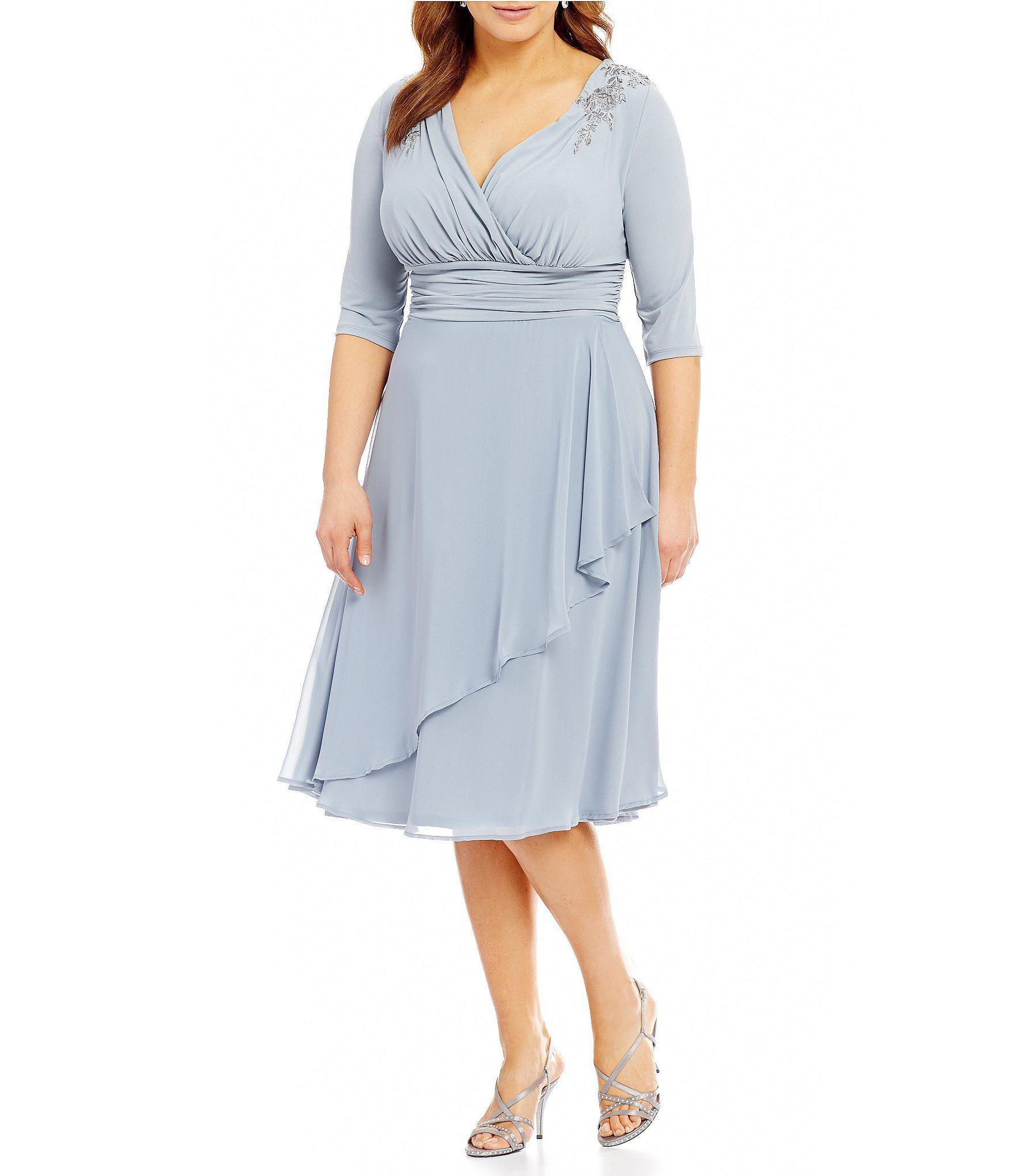 Shop for sangria plus surplice vneck applique chiffon dress at