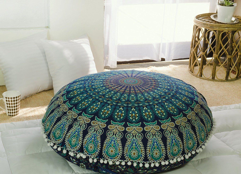 Popular Handicrafts Kp834 Large Hippie Mandala Floor Pillow Cushion Pouf Cover Round Bohemian Yoga Floor Pillows Round Floor Pillow Bohemian Style Pillows