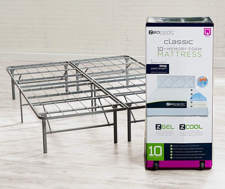 Zeopedic Classic 10 Queen Gel Infused Memory Foam Mattress In A Box Frame Collection At Big Lots Foam Mattress Memory Foam Mattress Mattress