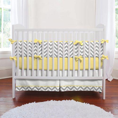 Gray And Yellow Zig Zag Baby Crib Bedding Baby Crib