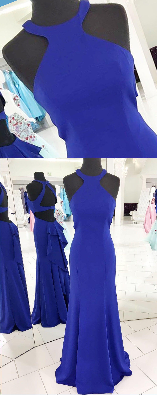 new evening gowns unique hollow out royal blue satin senior