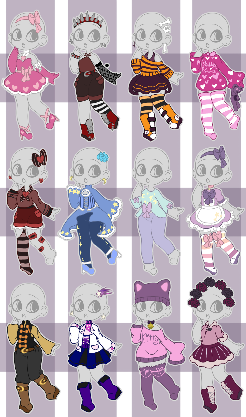 Mixed Outfit Adopt Batch (closed) by HorrorStar Kawaii